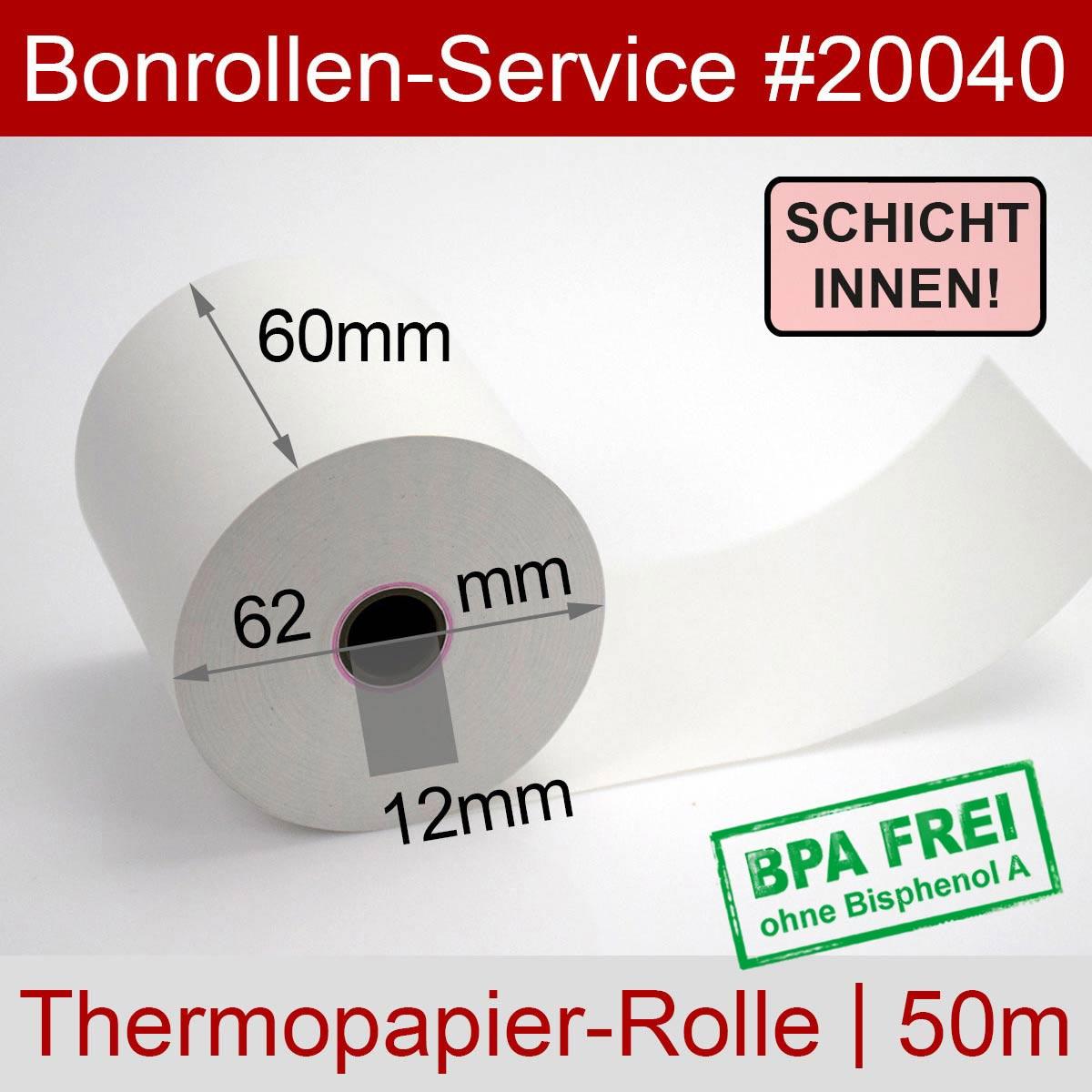 Thermorollen BPA-frei 60 / 50m / 12 weiß, Innenwicklung - Detailansicht