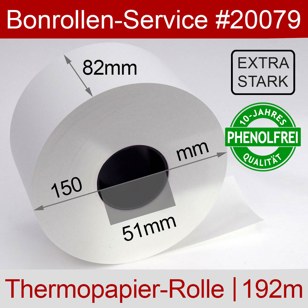 Phenolfreie Automatenrollen 82 / 150 / 51 weiß mit extra-starkem Thermopapier - Detailansicht
