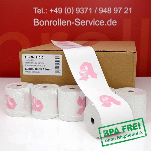 Produktfoto - Apotheken-Thermorollen, BPA-frei 80 / 80m / 12 für Epson TM-T 88 V (012)