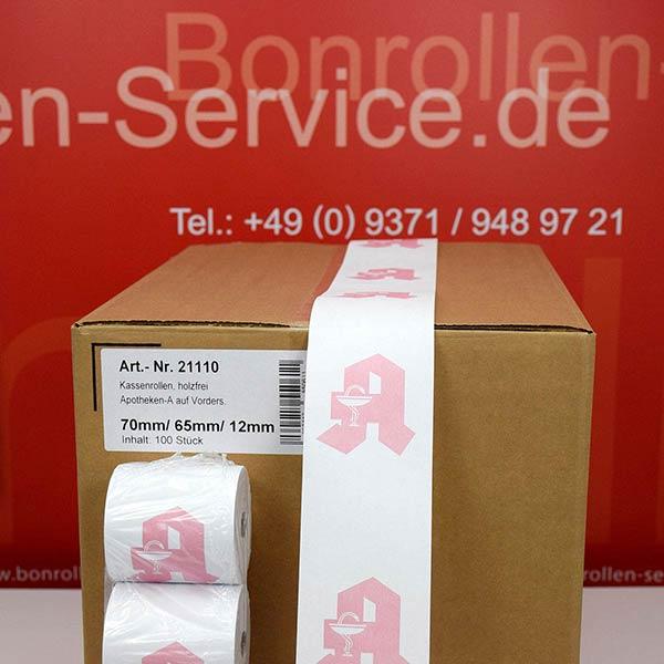 Produktfoto - Apothekenrollen, weiß, mit rotem Apotheken-A auf Vorderseite - 70 / 65 / 12 für