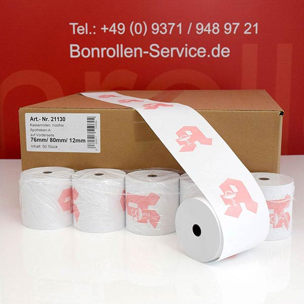 Produktfoto - Apothekenrollen, weiß, mit rotem Apotheken-A auf Vorderseite - 76 / 80 / 12 für Epson TM-U 220 PD