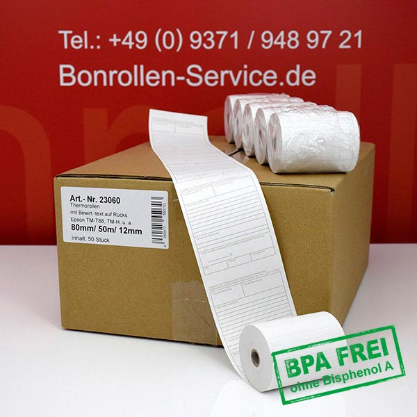 Produktfoto - Thermorollen mit Bewirtungsbeleg, BPA-frei 80 / 50m / 12 für Mons QMP 3186