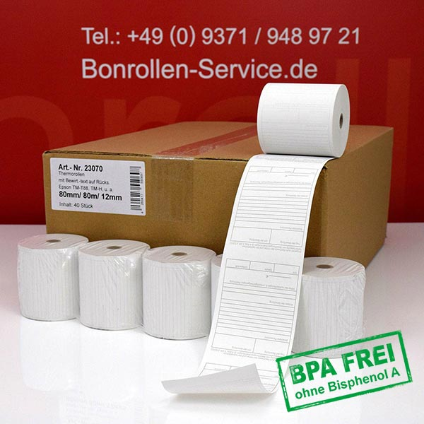 Produktfoto - Thermorollen mit Bewirtungsbeleg, BPA-frei 80 / 80m / 12 für Epson TM-T20II