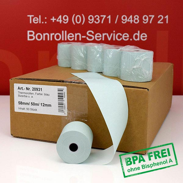 Produktfoto - Blaue Thermorollen / Kassenrollen, BPA-frei 58 / 50m / 12 für Multi-Data ECR 116