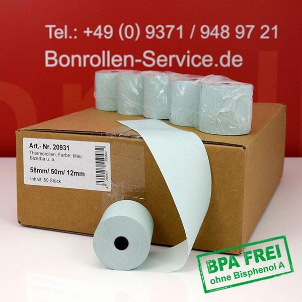 Produktfoto - Blaue Thermorollen / Kassenrollen, BPA-frei 58 / 50m / 12 für Olympia CM 942F TSE-HUB