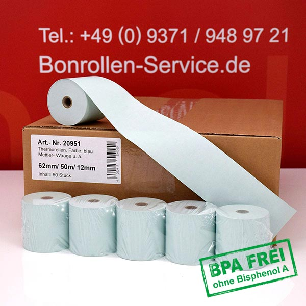 Produktfoto - Blaue Thermorollen / Kassenrollen, BPA-frei 62 / 50m / 12 für Mettler-Toledo UC3 CDDT-P