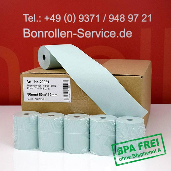 Produktfoto - Blaue Thermorollen / Kassenrollen, BPA-frei 80 / 50m / 12 für Epson TM-T 88 V (012)