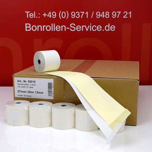 Produktfoto - Bonrollen / Kassenrollen, doppellagig, cb/cf (weiß/gelb), 57 / 25m / 13,3 für
