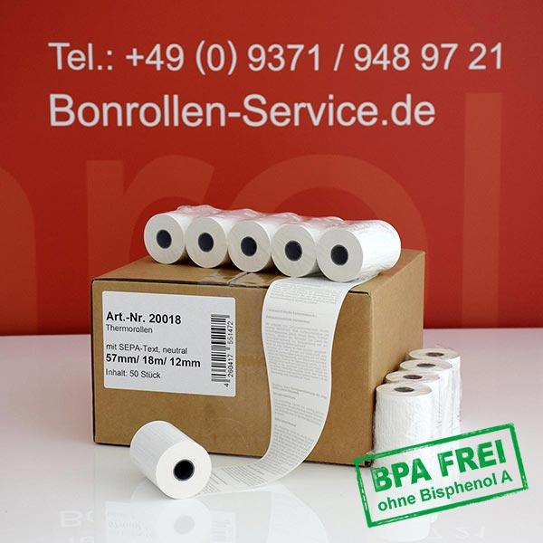 Produktfoto - EC-Cash-Rollen, mit SEPA-Text auf Rückseite, BPA-frei 57 / 18m / 12 für Ingenico iWL222