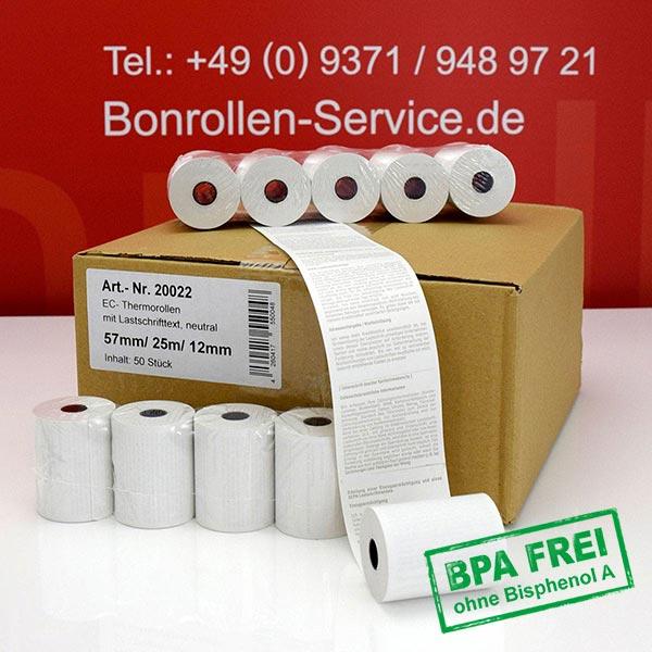 Produktfoto - EC-Cash-Rollen, mit SEPA-Text auf Rückseite, BPA-frei 57 / 25m / 12 für TeleCash V810