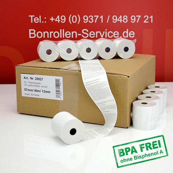Produktfoto - EC-Cash-Rollen, mit SEPA-Text auf Rückseite, BPA-frei 57 / 40m / 12 für Custom S Print I