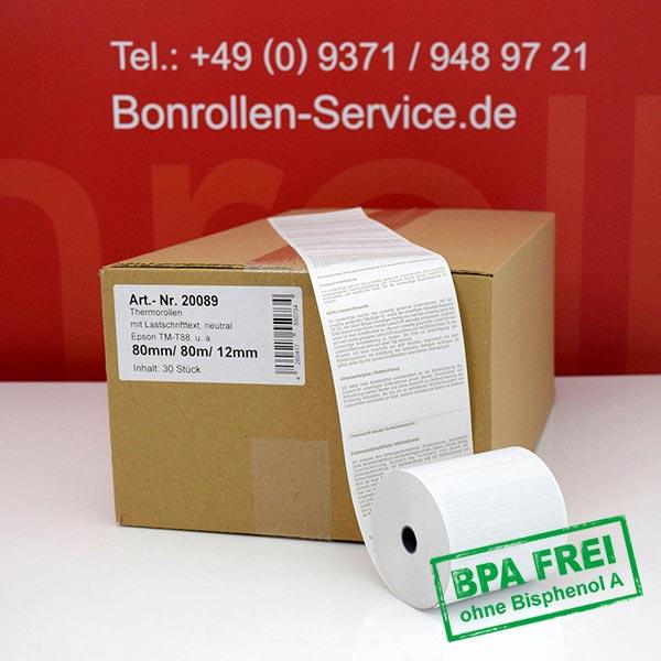 Produktfoto - EC-Cash-Rollen, mit SEPA-Text auf Rückseite, BPA-frei 80 / 80m / 12 für Epson TM-T 88 V (012)