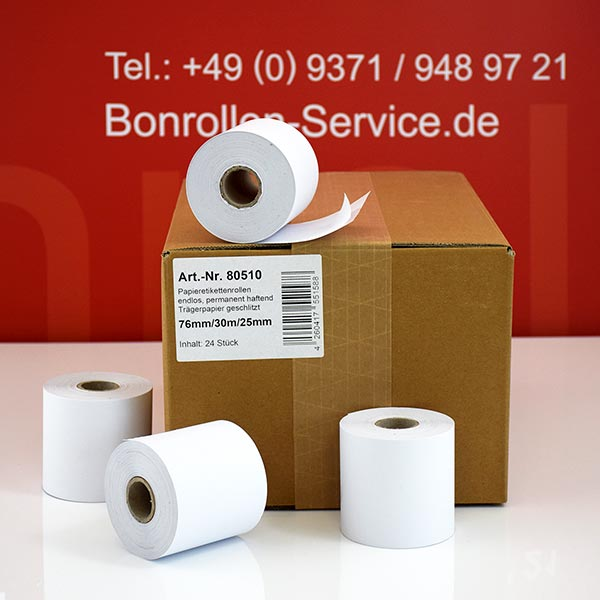 Produktfoto - Etikettenrollen 76 mm x 30 m, Normalpapier > permanent  für Epson TM-U230