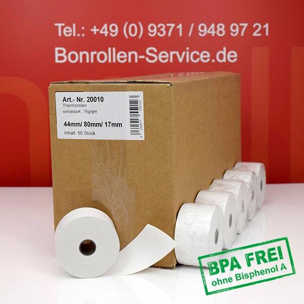 Produktfoto - Extra-starke Thermorollen (Papier: 76g/m²), BPA-frei 44 / 80 / 17,5 für