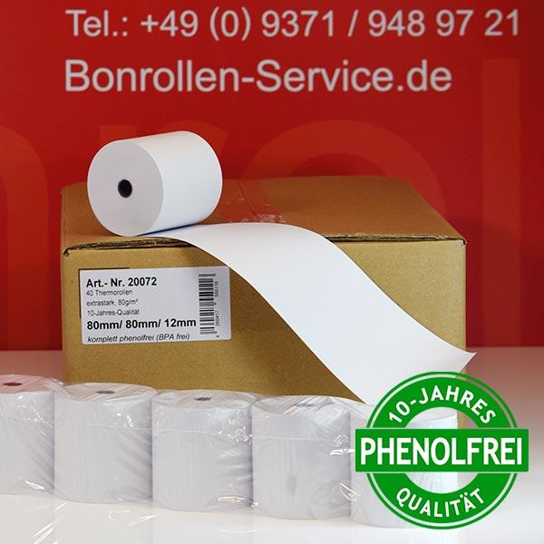 Produktfoto - Extra-starke Thermorollen (Papier: 76g/m²), phenolfrei 80 / 80 / 12 für Quorion QTouch 2
