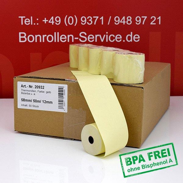 Produktfoto - Gelbe Thermorollen / Kassenrollen, BPA-frei 58 / 50m / 12 für Multi-Data ECR 116
