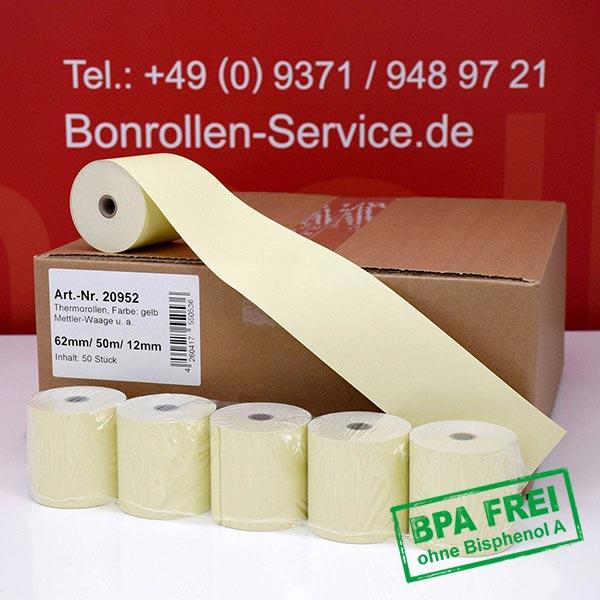 Produktfoto - Gelbe Thermorollen / Kassenrollen, BPA-frei 62 / 50m / 12 für Mettler-Toledo UC-HTT-M