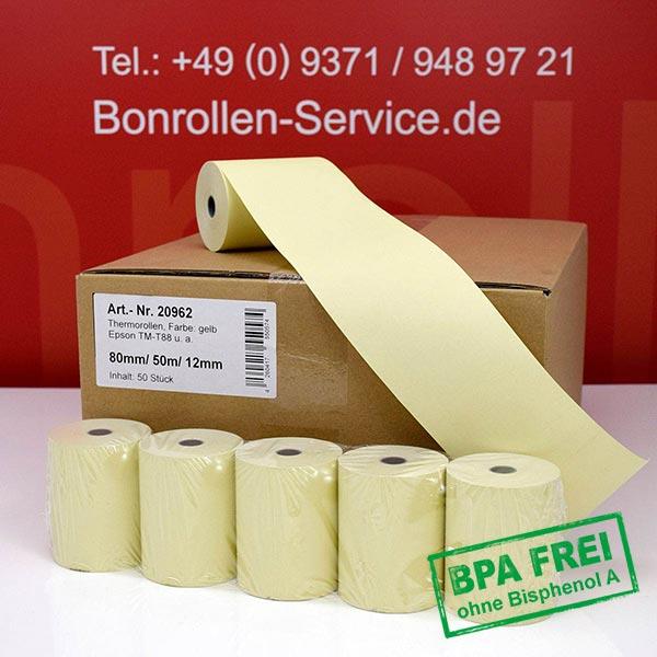Produktfoto - Gelbe Thermorollen / Kassenrollen, BPA-frei 80 / 50m / 12 für Axiohm AX 7472