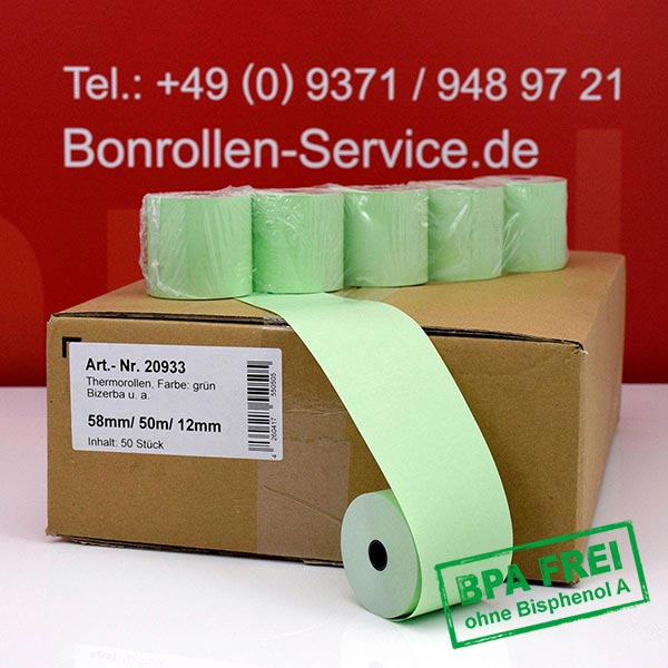 Produktfoto - Grüne Thermorollen / Kassenrollen, BPA-frei 58 / 50m / 12 für Olympia CM 942F TSE-HUB