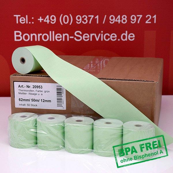 Produktfoto - Grüne Thermorollen / Kassenrollen, BPA-frei 62 / 50m / 12 für Mettler-Toledo bTwin