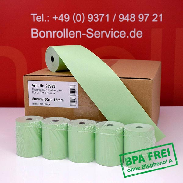 Produktfoto - Grüne Thermorollen / Kassenrollen, BPA-frei 80 / 50m / 12 für Quorion QTouch 2