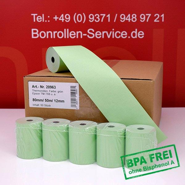 Produktfoto - Grüne Thermorollen / Kassenrollen, BPA-frei 80 / 50m / 12 für Bematech MP-4200 TH FI
