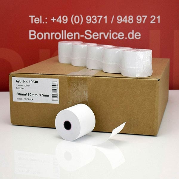 Produktfoto - Bonrollen / Kassenrollen - 58 / 70 / 17,5 für Schultes HS 2008