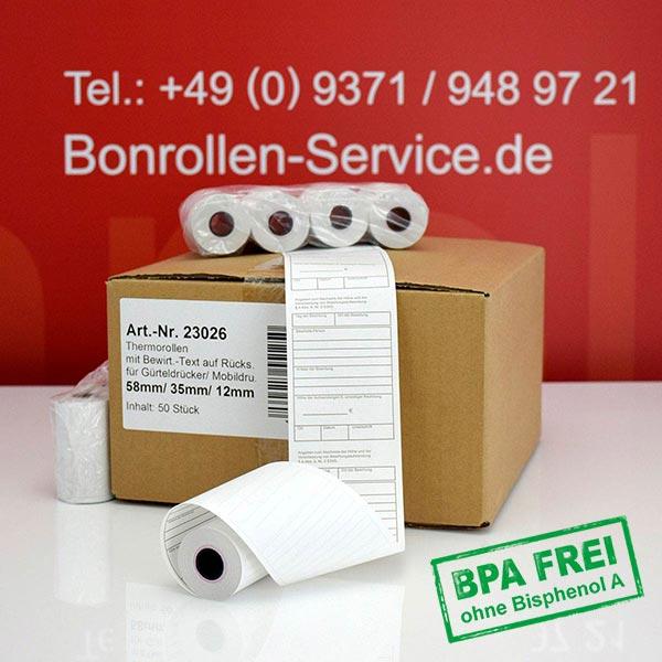 Produktfoto - Thermorollen mit Bewirtungsbeleg, BPA-frei 58 / 15m / 12 für Bixolon SPP-R200IIIBKL/BEG