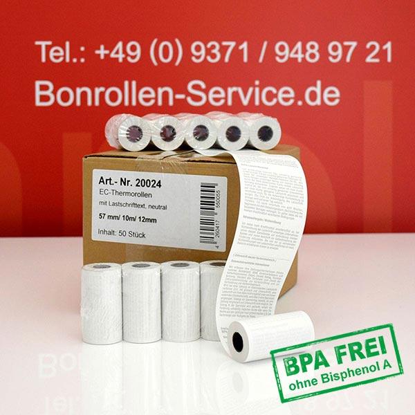 Produktfoto - EC-Cash-Rollen, mit SEPA-Text auf Rückseite, BPA-frei 57 / 10m / 12 für REA-Card REA T7 flex
