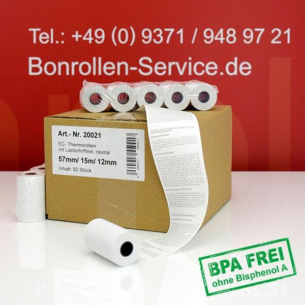 Produktfoto - EC-Cash-Rollen, mit SEPA-Text auf Rückseite, BPA-frei 57 / 15m / 12 für AtoS-Worldline YOMOVA