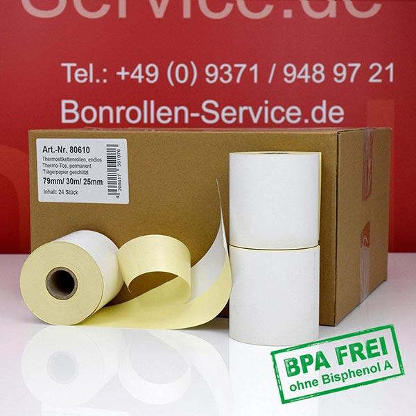 Produktfoto - Thermo-Etikettenrollen 79 mm x 30 m, BPA-frei > permanent  für Albasca RP410