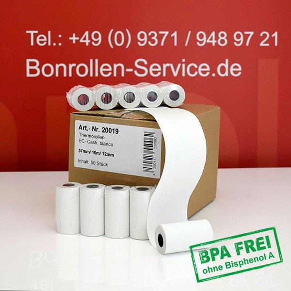 Produktfoto - Thermorollen / Kassenrollen, BPA-frei 57 / 10m / 12 für