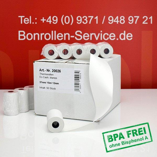 Produktfoto - Thermorollen / Kassenrollen, BPA-frei 57 / 15m / 12 für Bixolon SPP-R200IIIBKL/BEG