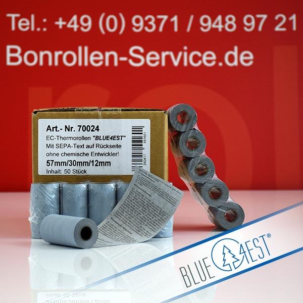 Produktfoto - Öko-EC-Thermorollen, mit SEPA-Text auf Rückseite, Blue4est® 57 / 10m / 12 für Banksys XENTISSIMO