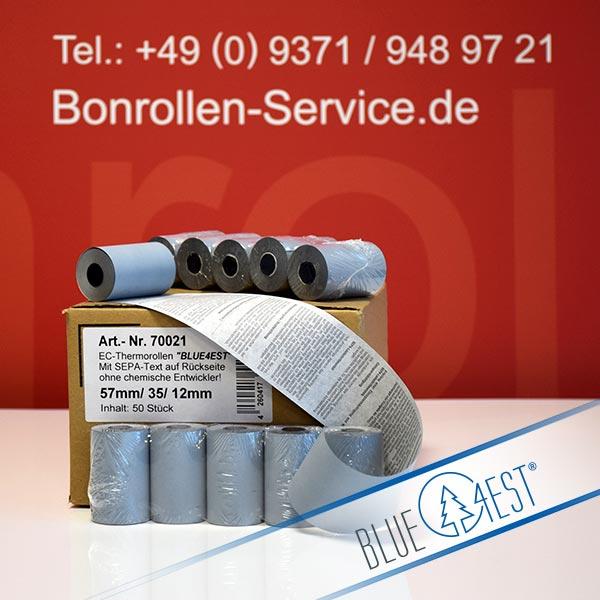 Produktfoto - Öko-EC-Thermorollen, mit SEPA-Text auf Rückseite, Blue4est® 57 / 14m / 12 für HSM iWL251 V3