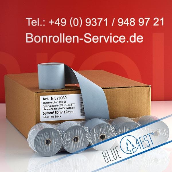 Produktfoto - Öko-Thermorollen / Kassenrollen, Blue4est® 58 / 50m / 12 für Olivetti NETTUN@3000INTL