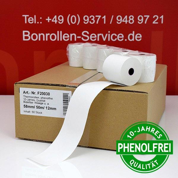 Produktfoto - Thermorollen / Kassenrollen, phenolfrei 58 / 50m / 12 für Bizerba BS 200 F