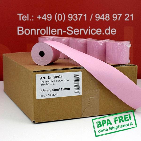 Produktfoto - Rosa Thermorollen / Kassenrollen, BPA-frei 58 / 50m / 12 für Olivetti NETTUN@3000INTL
