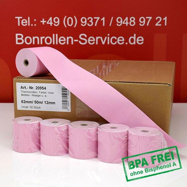 Produktfoto - Rosa Thermorollen / Kassenrollen, BPA-frei 62 / 50m / 12 für Mettler-Toledo UC-HTT-M