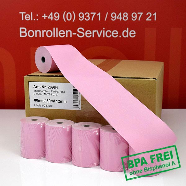 Produktfoto - Rosa Thermorollen / Kassenrollen, BPA-frei 80 / 50m / 12 für Epson TM-T20II
