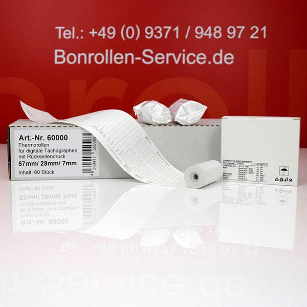 Produktfoto - Tachographenrollen / Tachorollen, 57 / 8m / 7 mit Rückseitendruck für