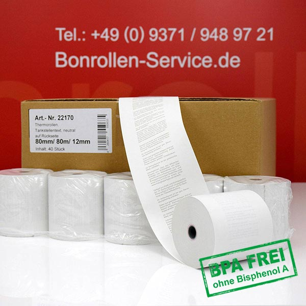 Produktfoto - Tankstellen-Thermorollen, BPA-frei 80 / 80m / 12 für Posbank A10-NB