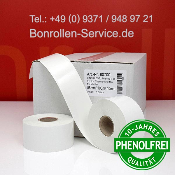 Produktfoto - Linerless-Thermoetiketten 58 mm x 100 m, endlos, phenolfrei > stark klebend für Albasca RP410