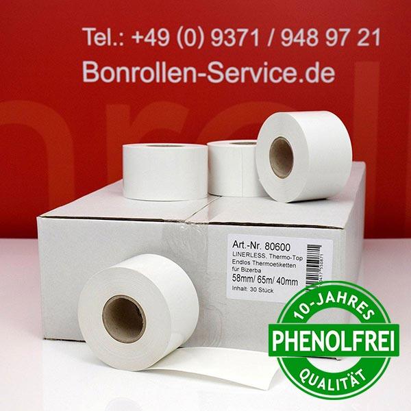 Produktfoto - Linerless-Thermoetiketten 58 mm x 65 m, endlos, phenolfrei > stark klebend für Bizerba KH II 800