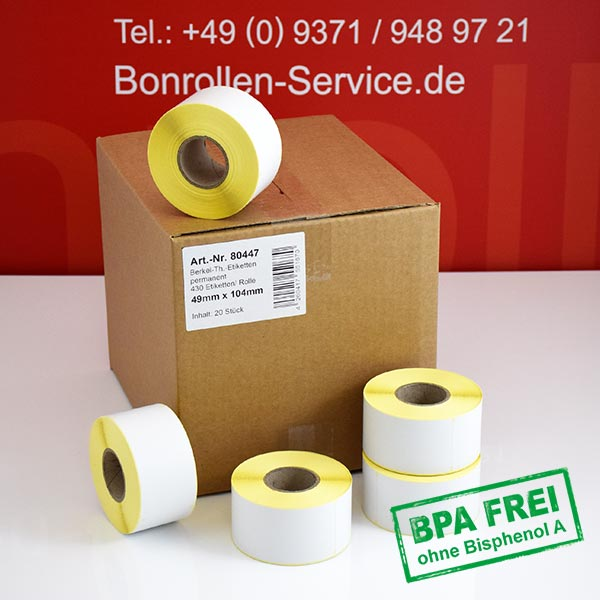 Produktfoto - Thermo-Etikettenrollen 49mm x 104mm > permanent klebend für Avery-Berkel IM100