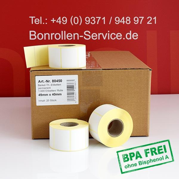 Produktfoto - Thermo-Etikettenrollen 49mm x 40mm > permanent klebend für Avery-Berkel IM100