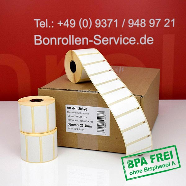 Produktfoto - Thermo-Etikettenrollen 56 mm x 25,4 mm, BPA-frei > permanent für Albasca RP410
