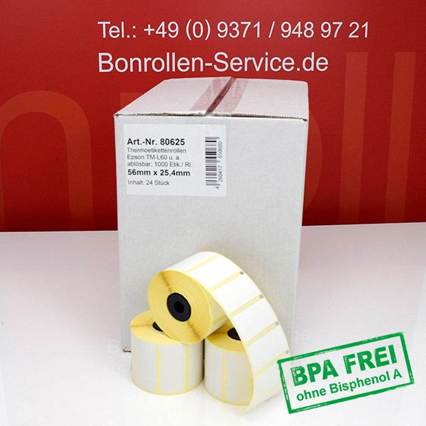 Produktfoto - Thermo-Etikettenrollen 56 mm x 25,4 mm > ablösbar für Albasca RP410