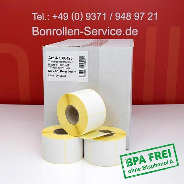 Produktfoto - Thermo-Etikettenrollen 58 mm x 60 mm > permanent klebend für Albasca RP410