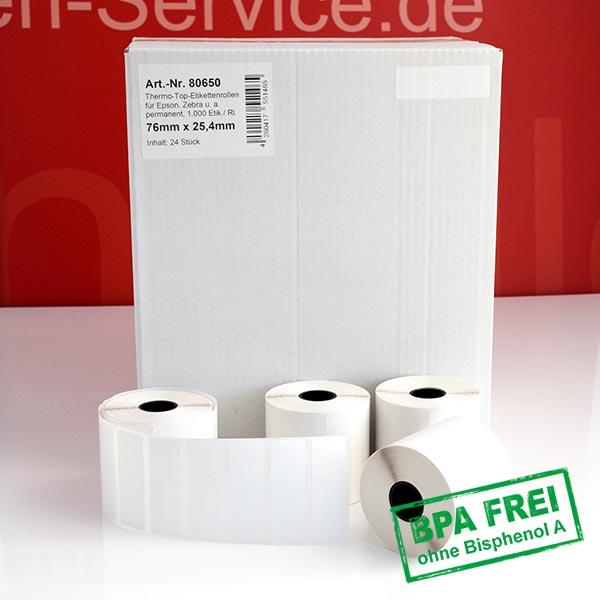 Produktfoto - Thermo-Etikettenrollen 76 mm x 25,4 mm, BPA-frei > permanent für Albasca RP410